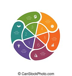 diagrammen, mal, infographic, ring, proces, 6., pastei, ...