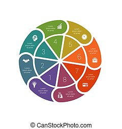 diagrammen, mal, infographic, ring, proces, pastei, cyclic, ...