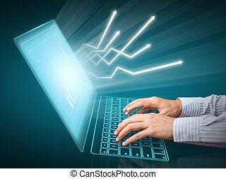 diagrammen, op, computerscherm