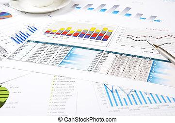 diagrammen, van, groei, paperworks