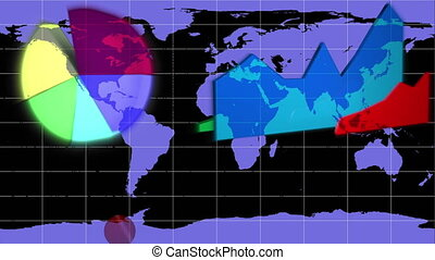 diagrammen, verschijnen, op, een, blauwe , wereld