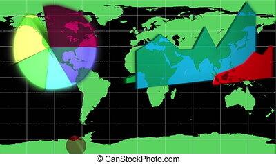 diagrammen, verschijnen, op, een, wereldkaart