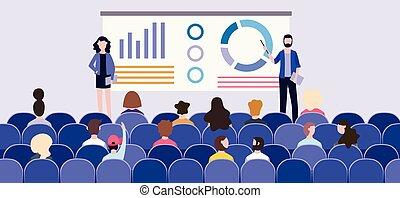 diagrammes, devant, planche, présentation, audience, conference., business