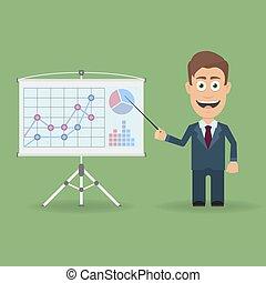 diagrams., ビジネスレポート, プレゼンテーション, コーチ, 特徴, チャート, セミナー, プレゼンテーション, 立ちなさい, ミーティング, ポインター, 漫画, 講義