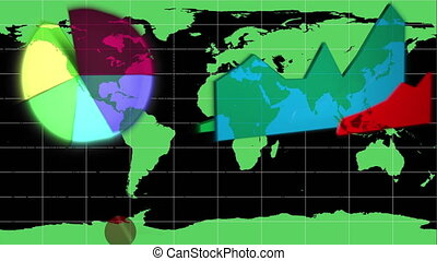 Diagrams appearing on a world map