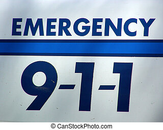 Dial 911 sign on side of emergency vehicle