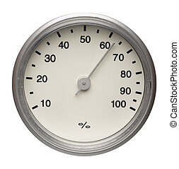 Dial of instrument for measuring humidity, isolated on a white background