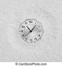 Dial of watch filled up by sand