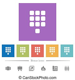 Dial pad flat white icons in square backgrounds. 6 bonus...