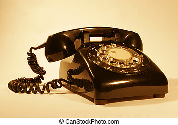 Dial Phone - Retro rotary phone in sepia made by northern...