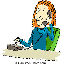 Vector illustration of a happy business woman at her desk, dialing the telephone.