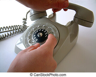 Dialling with vintage telephone