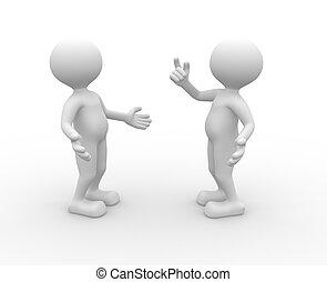 Dialog - 3d people - men, person talking