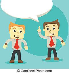 dialog, affärsmän, diskutera, affärsmän, två