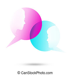 Dialog bubbles with two faces