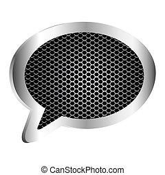 dialog callout box with grill perforated frame icon relief...