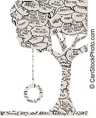 dialog, däck, träd, bok, gunga, komiker
