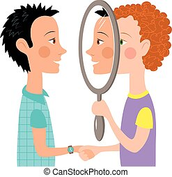 dialog, folk, två, spegel