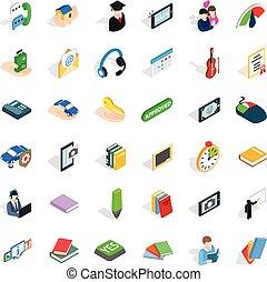 Dialog icons set, isometric style