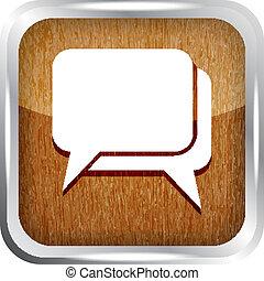 dialog, ikona, dřevěný, neposkvrněný