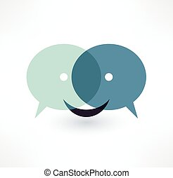 dialog, kommunikation, logo, icon., design., pratstund