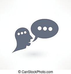 dialog, komunikace, emblém, icon., design., pohovor