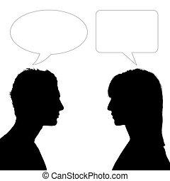 dialog, kvinna, bemanna, vett