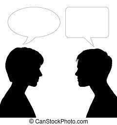 dialog, kvinnor, två, ansikte
