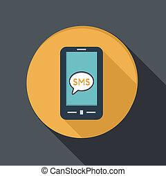 dialog, smartphone, sms, wolke