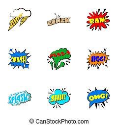 Dialog speech bubbles icons set, cartoon style
