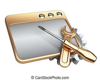dialog, vindue, hos, guld, gear hjul, og, skruetrækker