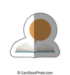 dialogo, bolla, adesivo, mezzo, libro, uggia, aperto