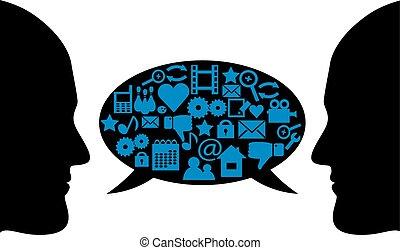 dialogo, fra, due persone