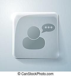 dialogo, quadrato, carattere, vetro, avatar, icon.