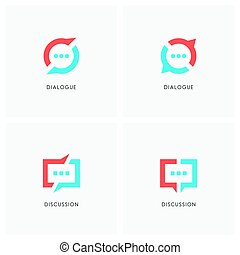Dialogue and discussion logo set. Split chat symbol, two ...