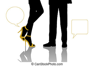 dialogue between businessman and beautiful woman standing -...