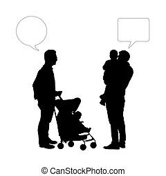 dialogue between two fathers of young children - black...