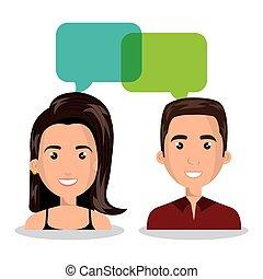 dialogue, femme, isolé, conversation, bulle, homme