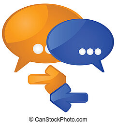 Dialogue - Glossy illustration showing a couple of talk...