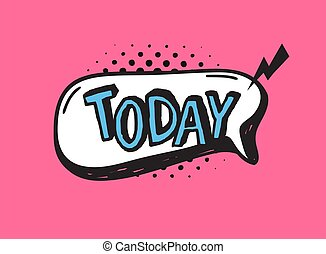 dialogue, main, rose, vecteur, today., dessiné, fond, bulle, halftone., texte, mot, art, comique, parole, pop, griffonnage, objet, élément, ou
