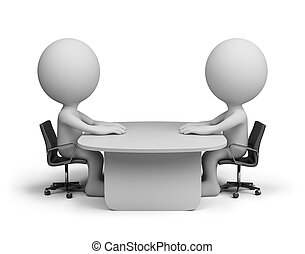 Dialogue - Two people sitting at the table talking. 3d...
