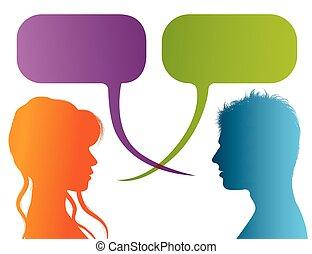 dialogue, vecteur, silhouette, coloré, bubble., communication, discussion, gens, -, isolé, ou, conversation, profile., parole, bavarder, entre, woman., couple, homme