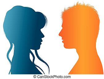 dialogue, vecteur, silhouette, coloré, femme affaires, gens., entre, conversation, profile., businessman., communication, woman., discuter, couple, homme