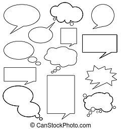 dialoog, balloon, boodschap