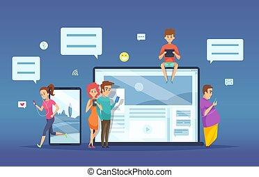 dialoog, concept, datering, tablet, mensen, draagbare computer, chatting., feitelijk, klesten, vector, vrouwlijk, online, smartphone, gesprek, mannelijke , spotprent