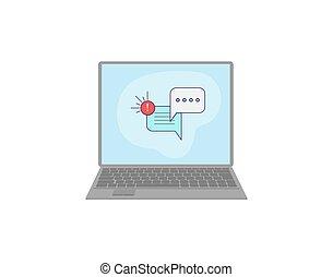 dialoog, draagbare computer, berichten, screen., praatje, of, wolk