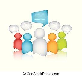 dialoog, het spreken., menigte, zakelijk, mensen., tussen, communication., anders, illustratie, vrijstaand, anders, interview., globalization., 3d