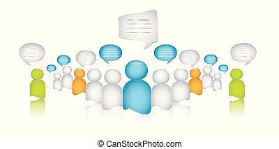 dialoog, het spreken., zakelijk, menigte, mensen., tussen, communication., anders, illustratie, vrijstaand, anders, interview., globalization., 3d