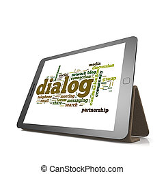 dialoog, woord, wolk, op, tablet