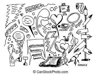dialoque, dibujado, símbolos, mano